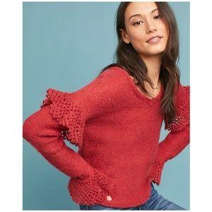Intropia Anthropologie Ruffle Sleeve Sweater 3451